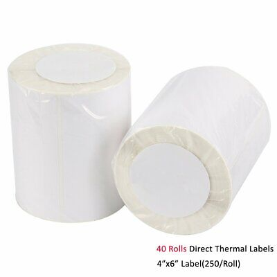40 Rolls 250 Direct Thermal Labels 4x6 For Zebra 2844 ZP450 Eltron ZP500 ZP505
