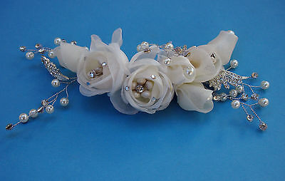 Bridal Hair piece Ivory Flowers  lace pearls & beads  Wedding & Formal