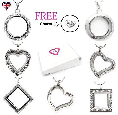 Silver Round & Heart Living Memory Locket Necklace Pendant For Floating Charms