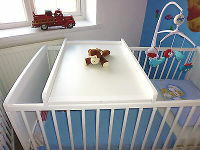 White Wood Cot Bed Top Changer Baby Changing Station