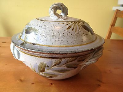 Northumbrian Hand Painted Pottery Tureen Serving Dish Lidded Pot