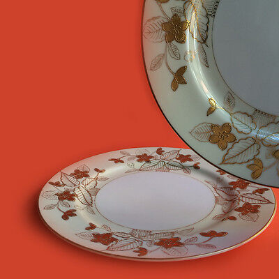 Craftsman Japan Anniversary Pattern Dinner Plate Gold Flowers and Leaves - TWO.