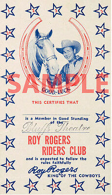 """Western Roy Rogers """"King of the Cowboys"""" Riders Club Members Card 4"""" X 7"""""""
