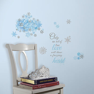 FROZEN LET IT GO Quote Wall Decals Snowflakes Stickers Disney Phrase Room Decor