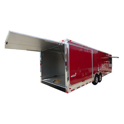 Concession Trailer 8.5'x30' Red - Smoker BBQ Food Catering