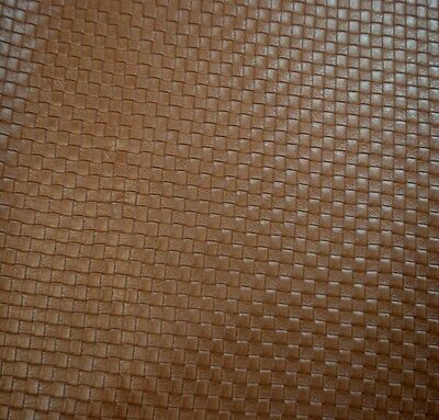 """Basket Weave Tile Upholstery/Faux Leather Fabric Brown 54"""" Wide - By the Yard"""