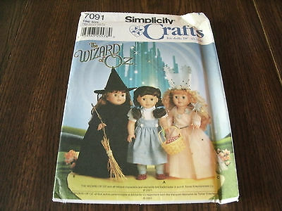 """SIMPLICITY *THE WIZARD OF OZ* 18"""" DOLL COSTUME PATTERN (7091)"""