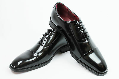 New Mens Dress Tuxedo / Formal Shoes Cap Toe Patent Leather Lace Up Oxfords NEW