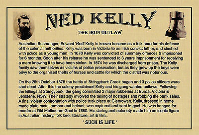 Ned Kelly Such Is Life Sublimated Gold Metal Mega Plaque For Framing