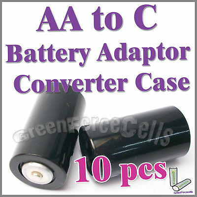 10 x battery Adaptor Converter Case Holder for AA to C