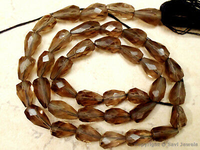 "Smoky Quartz 11-13mm Faceted Topdrill Gemstone Beads 13.5"" strand"