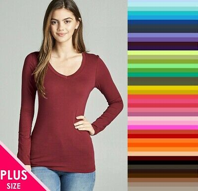 Womens Plus Size V Neck T Shirt Layering Long Sleeve Active Basic XL/1X/2X/3X