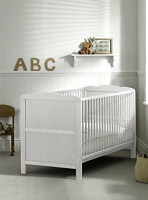 New White Cot Bed Cotbed Deluxe Mattress, Converts into a Junior Bed