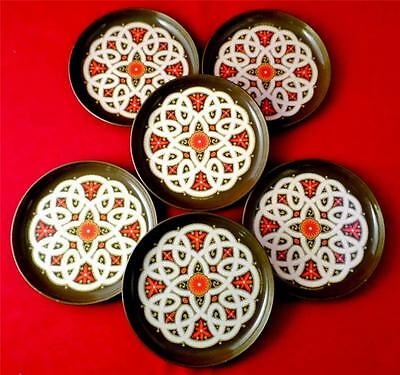 VINTAGE 1970s FAB Cocktail Mats 6 Set FLOWER POWER Coasters KITSCH Metal RETRO