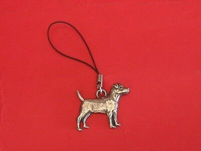 Patterdale Terrier Pewter Mobile Phone Charm Mum Dad Useful Xmas Gift Free Pouch