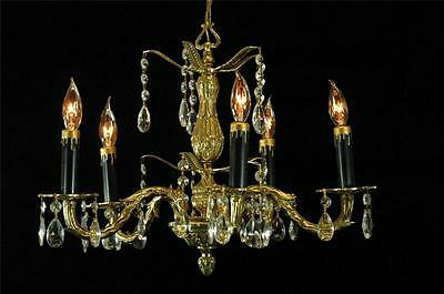 Vintage Restored Brass & Crystal European Petite Antique Chandelier