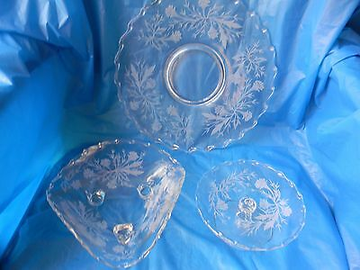 Fostoria 3 Pc Elegant Crystal Heather Etch 343 on 6037 Cheese Stand Plate & Bowl