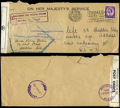 GB 1962 POLICE OHMS ENVELOPE OFFICIALLY SEALED by P.O to RETURN