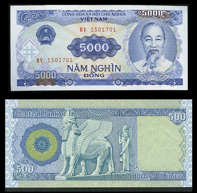 New Iraqi Dinar 500   + Receive A Free 5000 Vietnam Dong -Only 20 Sets Available
