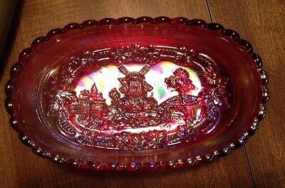 "Imperial Ruby Carnival Glass Oval Windmill Bowl - 8"" Exquisite & Rich"