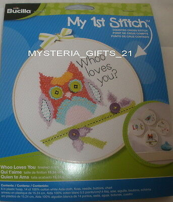 """Embroidery Kit With Floss 6"""" Plastic Hoop #whoo"""