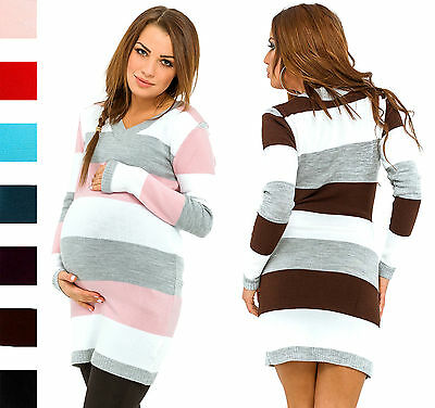 Happy Mama Women's Maternity Stretch Knit Colour Block Jumper Dress Stripes 405p