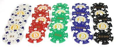 Tube Of 25 Clay Composite 10 Gram Bitcoin Logo Poker Chips (Assorted-5 Of Each)