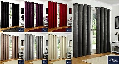 Luxury Thermal Blackout Pair Curtains Ready Made Eyelet, Ring Top Fully Lined