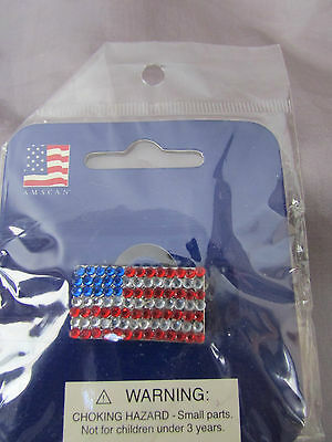 """American Flag Red White And Blue Glass Colored Silver Tone Pin Back 1/2 """"x 1"""""""