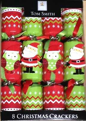 TOM SMITH Beautiful 8 pc Christmas Crackers Green/Red  NEW IN BOX