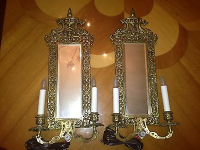 Vintage Bronze Set Of 2 Wall Luminaires With Mirror Lamps / Sconces