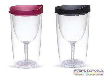 NEW 2GO Double Wall Insulated Acrylic Wine Tumbler with Merlot Slide Top Drink