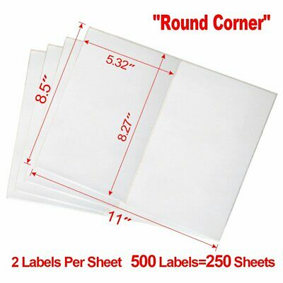 (250X2) Round Corner 8.5x5.5 Shipping Labels Half Sheet For Laser Inkjet USPS