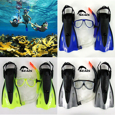 Kids Snorkel Mask Junior Goggle Flippers Swimming Fins Kid Snorkeling Gear Set