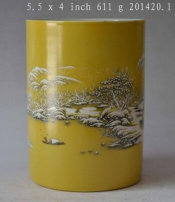 Collectible Chinese Porcelain Landscape Painting Brush Pot