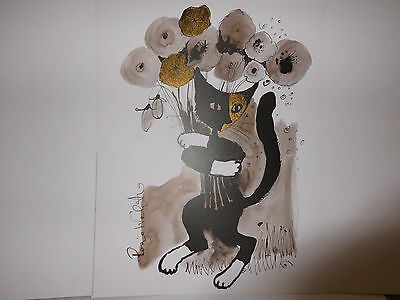 Wachtmeister GATTO CON PAPAVEROS SELVATICOS 40x50cm GALLERY EDITION R Z4-2