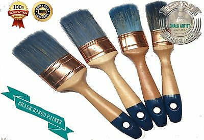 #PRO4 SET OF 4 CHALK bsd paint AND WATER BASED PAINTS shabby OVAL PAINTBRUSHES