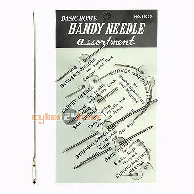 Upholstery 7 Repair Hand Needles For Canvas Leather Carpet Sewing Stitching Tool