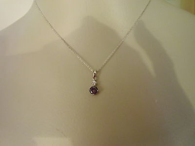 STERLING 925 Round Pendant LIGHT BLUE -CRYSTAL 16 inch  CHAIN Very Delicate