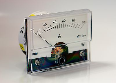 Crompton Instruments Ammeter. 0 - 100 amps AC. Moving Coil, Panel Mounted.