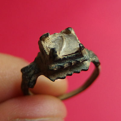 Ancient Medieval Bronze Ring Pirate Times  Xvii Century Old White Stone