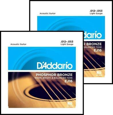 2 sets D'Addario EJ16 Phosphor Bronze  Light Acoustic Guitar Strings 12 - 53