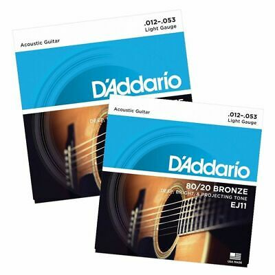 2 Sets  D'Addario EJ11  80/20 Bronze Light Gauge Acoustic Guitar Strings 12 - 53