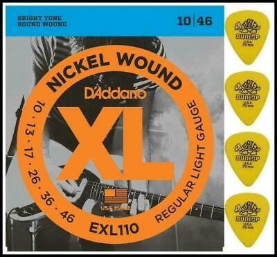 D'addario EXL110 Electric Guitar Strings 10 - 46 with Dunlop Tortex Picks x 4