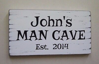 MAN CAVE Signs Personalised Shabby Vintage Style Wooden Sign Gift Idea