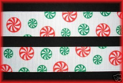 """7/8"""" CHRISTMAS PEPPERMINT RED GREEN CANDY GROSGRAIN RIBBON 4 HAIRBOW BOW"""
