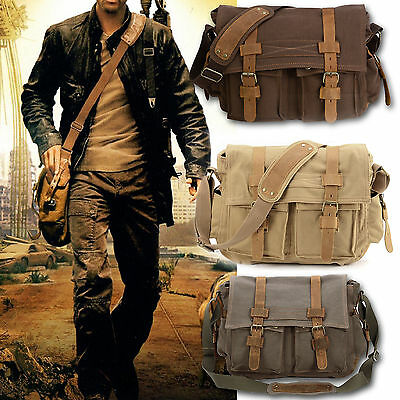 Sac Bandouliere Epaule Sacoche Canevas Cuir Dos Homme Cartable Camping Ecole Bag