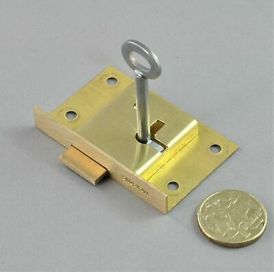 CUPBOARD LOCK-JACKSONS JC70-63mm-BRASS-vintage restoration-cabinet door-RIGHT H