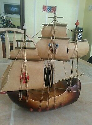 Vintage Wooden Viking Ship Lamp