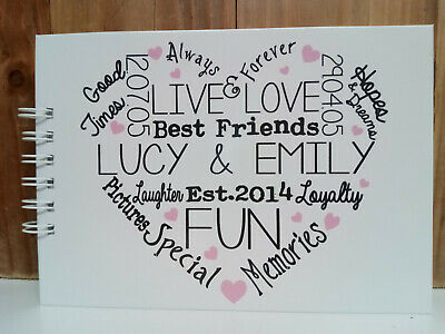 PERSONALISED BEST FRIENDS MEMORY PHOTO ALBUM SCRAPBOOK a5 Typography